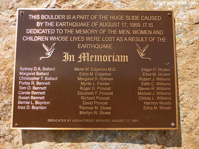 Memorial Plaque, Earthquake Lake Visitor Center, Montana