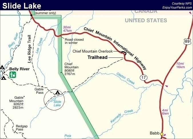 Slide Lake Trail Map, Glacier National Park Map