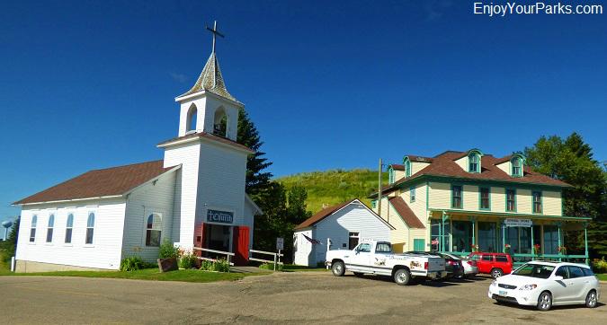 Frontier church and general store at Frontier Village, Jamestown, North Dakota