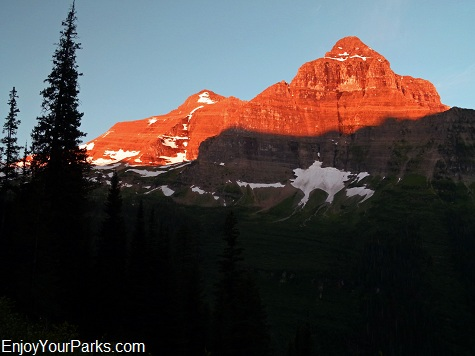 View of Kinnerly Peak and Kintla Peak from Boulder Pass Trail, Glacier National Park