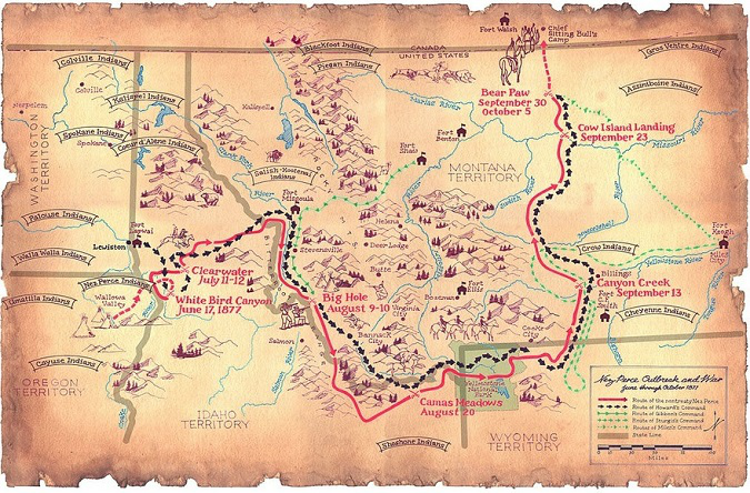 Route taken by Chief Joseph during the Nez Perce War of 1877