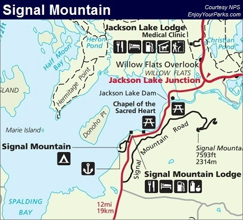 Signal Mountain Map, Grand Teton National Park Map