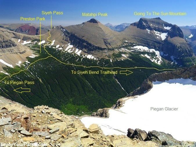 Piegan Mountain Summit View of Siyeh Pass, Glacier National Park