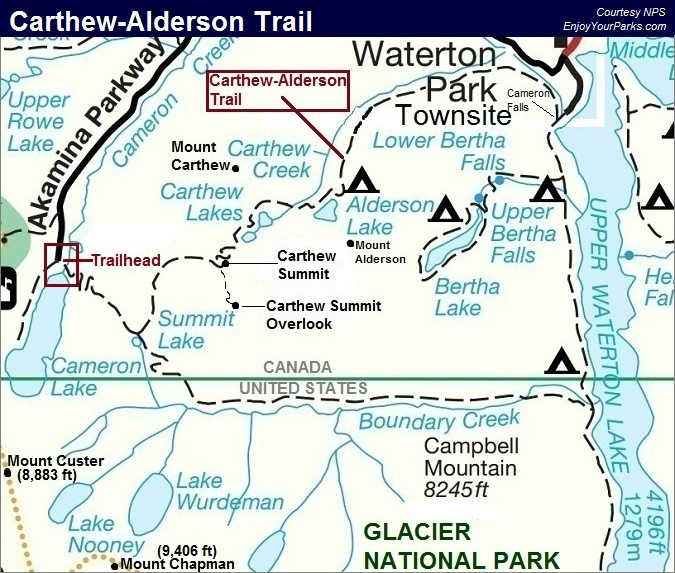 Carthew-Alderson Trail Map, Waterton Lakes National Park Map