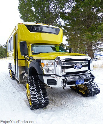 Snow coach, Winter in Yellowstone Park