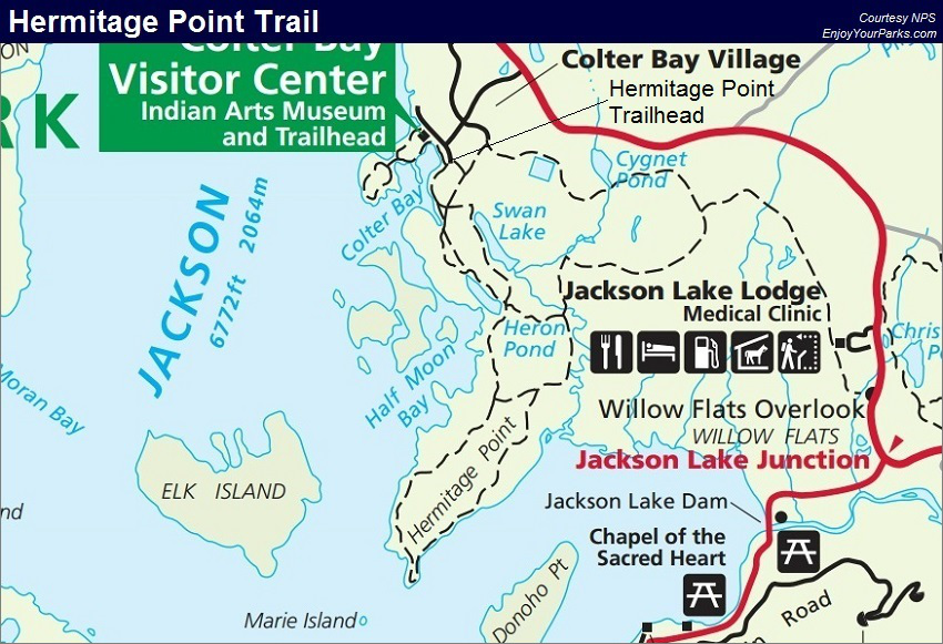 Hermitage Point Trail Map, Grand Teton National Park Map