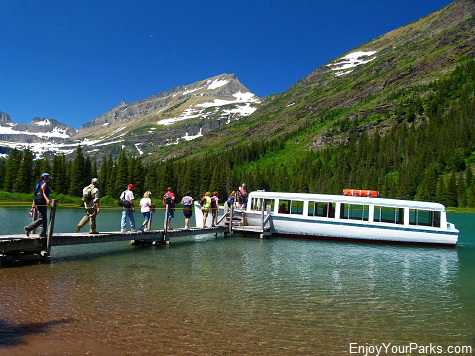 Wooden Boat Morning Eagle at the upper boat dock on Lake Josephine, Many Glacier Boat Tour, Glacier National Park