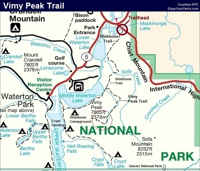 Vimy Peak Trail Map, Waterton Lakes National Park Map