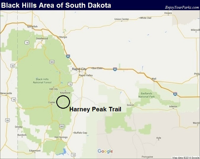 Black Hills South Dakota Map- Harney Peak Trail