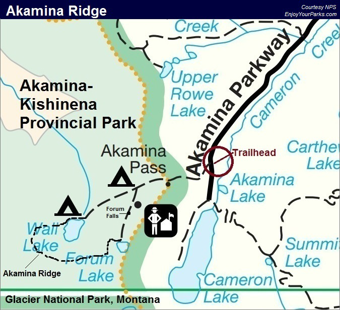 Akamina Ridge Trail Map, Waterton Lakes National Park Map