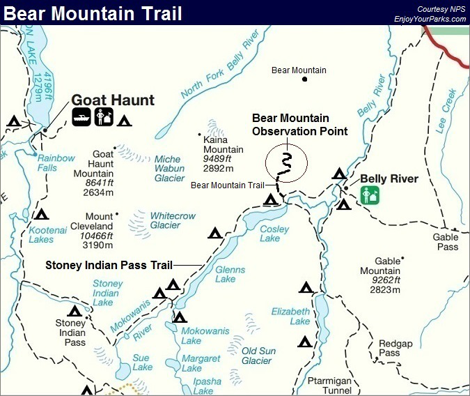 Bear Mountain Trail Map, Glacier National Park Map