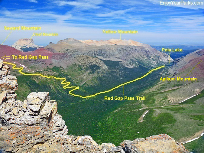 Red Gap Pass Trail as viewed from Crowfeet Mountain, Glacier National Park