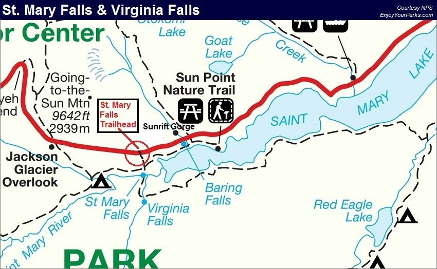 St. Mary Falls, Virginia Falls Trail Map, Glacier National Park Trail Map