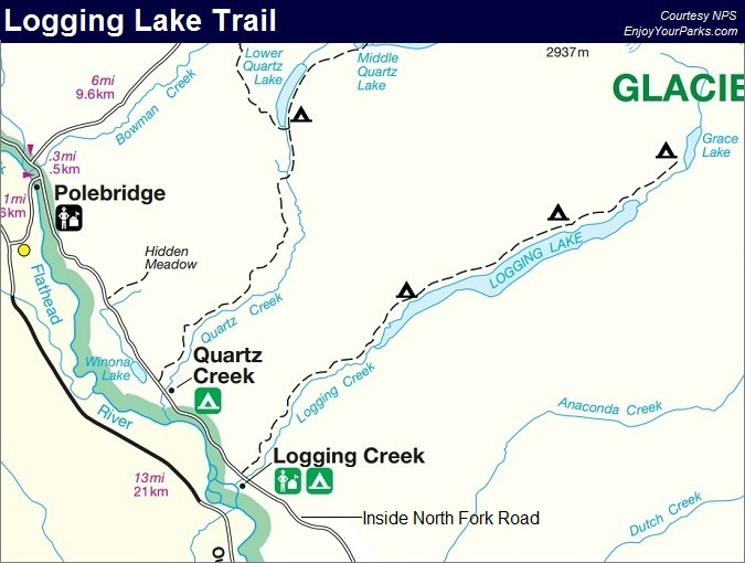 Logging Lake Trail Map, Glacier National Park Map