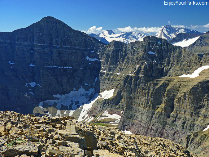 View of the north face of Mount Siyeh from the summit of Allen Mountain, Glacier Park