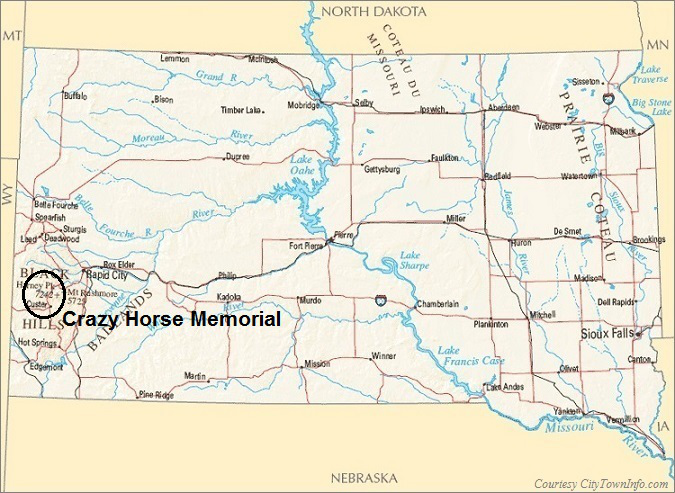 South Dakota Map- Crazy Horse Memorial
