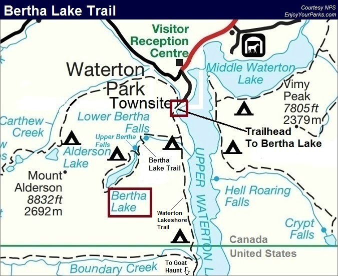 Bertha Lake Trail Map, Waterton Lakes National Park