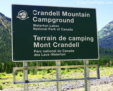 Crandell Mountain Campground sign, Red Rock Parkway, Waterton Lakes National Park