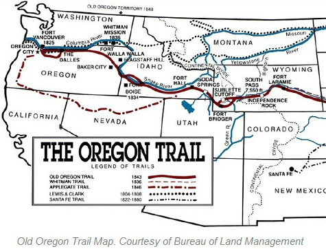 Old Oregon Trail Map, Courtesy of BLM