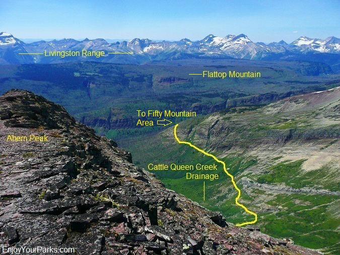 Cattle Queen Creek Drainage as viewed from Ahern Peak, Glacier Park