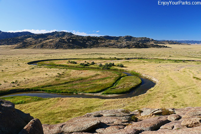 View of Sweetwater River from the Top of Independence Rock in Wyoming