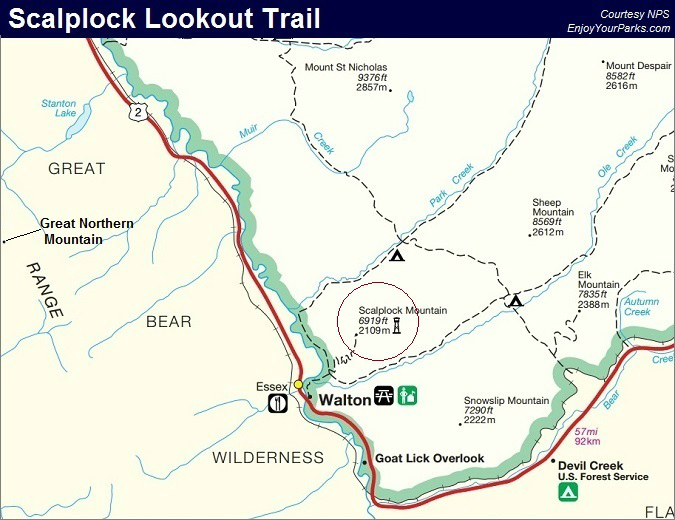 Scalplock Lookout Trail Map, Glacier National Park Map
