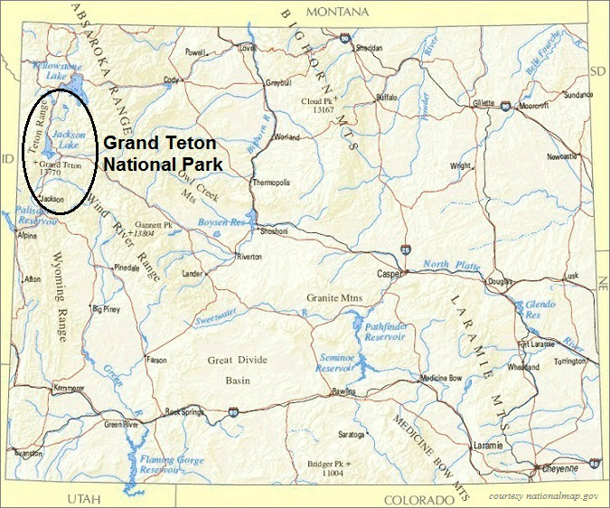 Wyoming Map, Grand Teton National Park