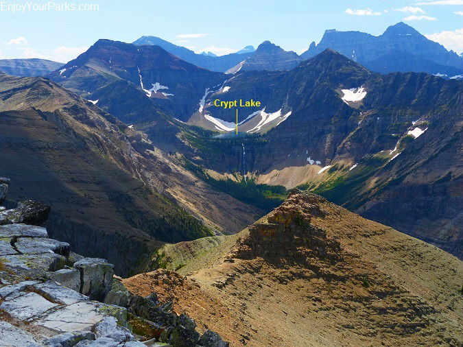 Vimy Peak summit view of Crypt Lake, Waterton Lakes National Park