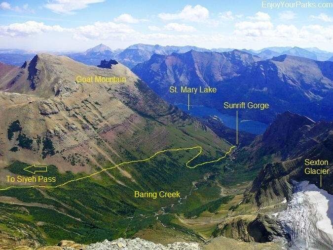View from the summit of Matahpi Peak of the Siyeh Pass Trail, Glacier National Park