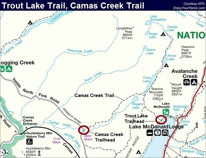 Trout Lake Trail Map, Camas Creek Trail Map, Glacier National Park Map