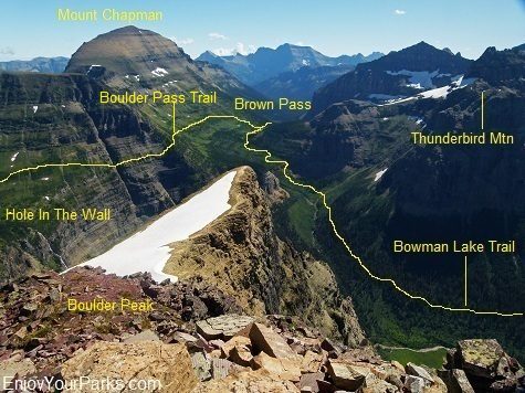 Boulder Peak Summit View, Brown Pass, Hole In The Wall, Glacier National Park