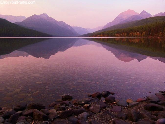 Bowman Lake alpenglow, Quartz Lake Loop Trail, Glacier National Park