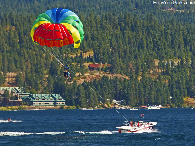Para-sailing on Lake Coeur d'Alene in Idaho.
