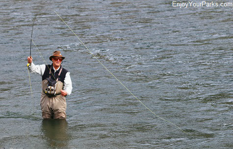 Fly fisherman on the Yellowstone River in Paradise Valley Montana