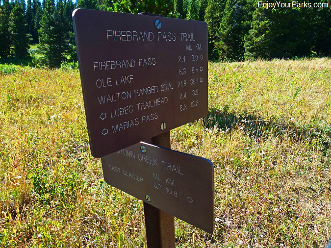 Autumn Creek Trail signs, Glacier National Park