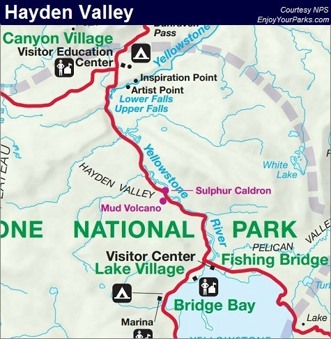 Hayden Valley, Yellowstone National Park Map