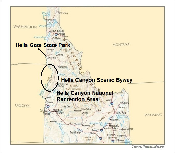 Idaho Map, Hells Canyon National Recreation Area