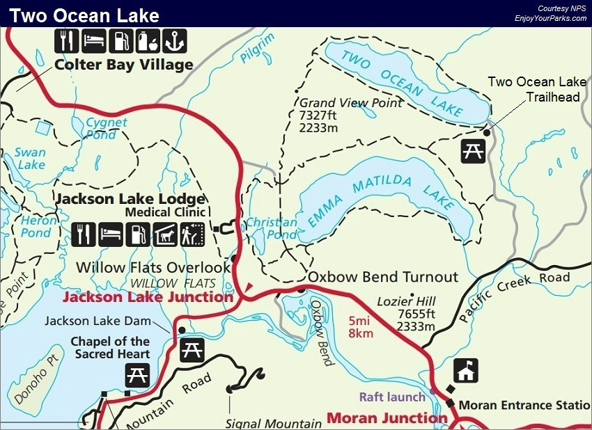 Two Ocean Lake Trail Map, Grand Teton National Park Map