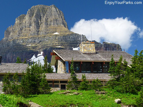 Logan Pass Visitor Center with Clements Mountain, Glacier National Park