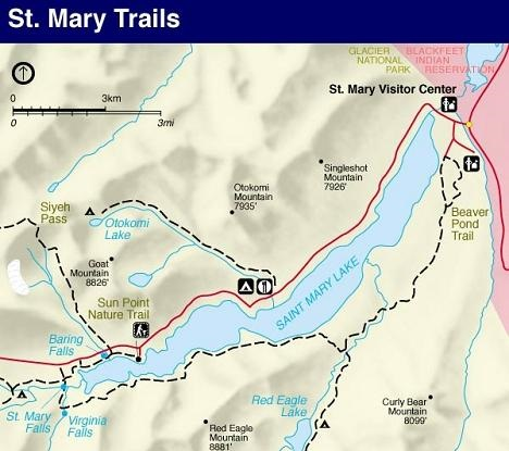 St. Mary Area Trail Map, Glacier National Park