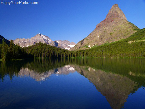 View from Swiftcurrent Lake of Grinnell Point and Mount Gould, Many Glacier Area of Glacier National Park