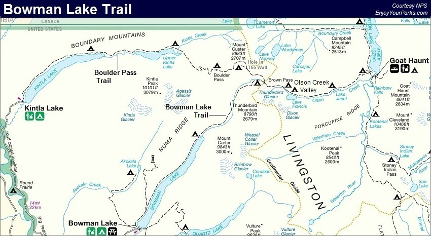 Bowman Lake Trail Map, Glacier National Park Map