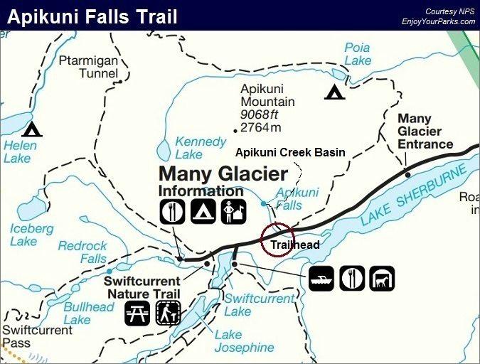 Apikuni Falls Trail Map, Glacier National Park Map