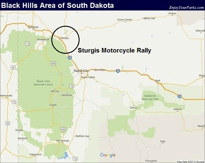 Black Hills South Dakota Map- Sturgis Motorcycle Rally