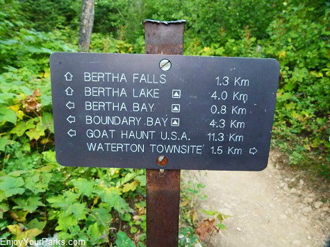 Waterton Lakeshore Trail sign, Waterton Lakes National Park