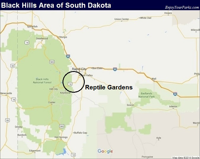 Black Hills South Dakota Map- Reptile Gardens