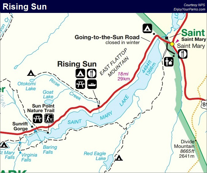 Rising Sun Motor Inn, Glacier National Park Map