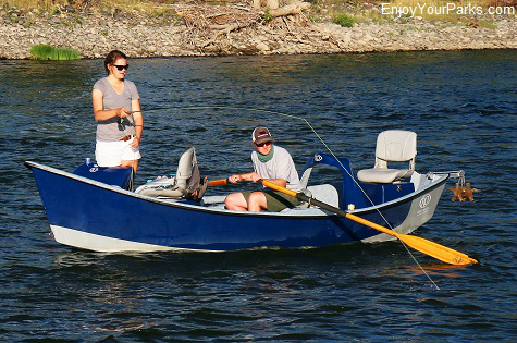 Fly fishing from a drift boat in Paradise Valley Montana