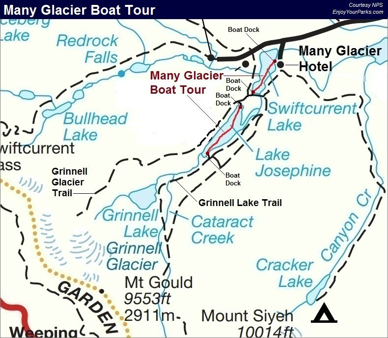 Many Glacier Boat Tour Map, Glacier National Park Map