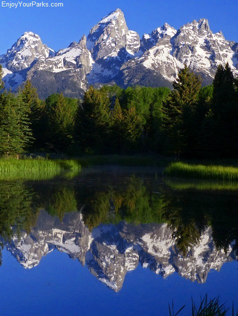 View of Teton Mountain Range from Schwabacher's Landing, Grand Teton National Park.